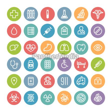 set di piatta rotonda icone mediche