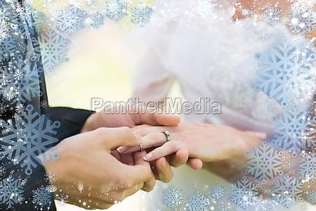 immagine composita di cornice di neve