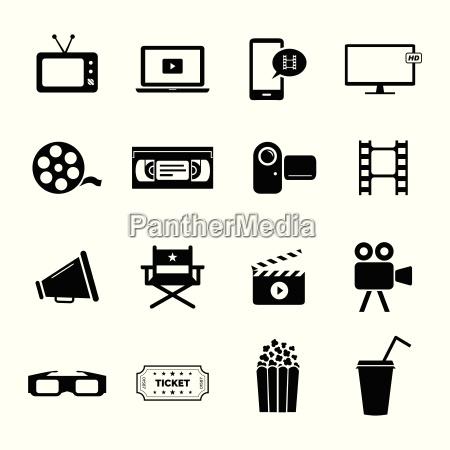 set di icone piatte nere relative