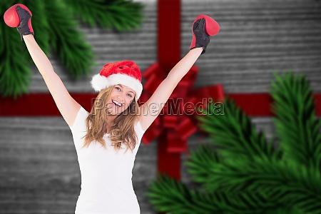 immagine composita di bionda festosa con