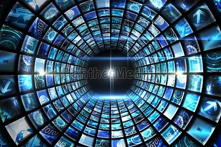 vortice di schermi digitali in blu