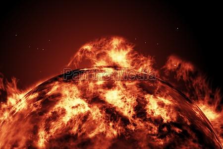 spazio caldo illustrazione fuoco incendio digitale