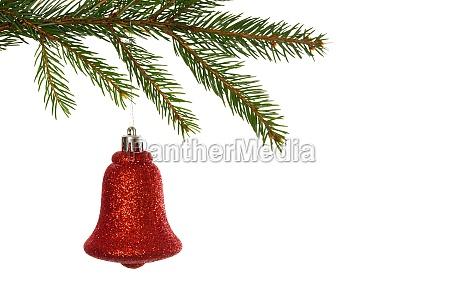 decorazione rossa di natale che pende