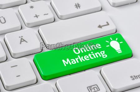 tastiera con chiave colorata marketing online