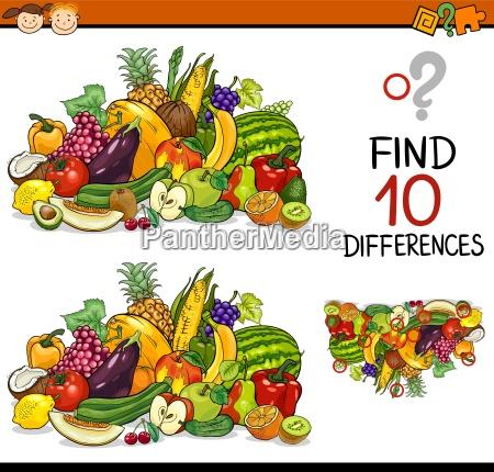 educazione frutta illustrazione enigma trovare scoperta