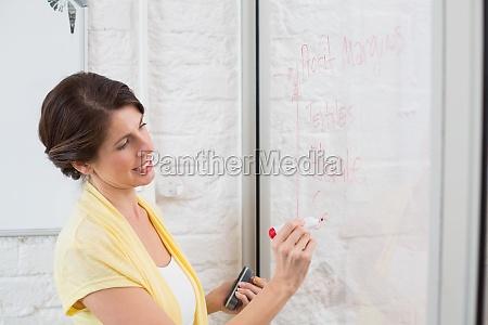 businesswoman scrivere idee brainstorming a bordo