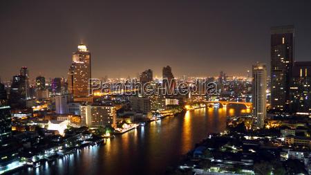 bangkok skyline by night