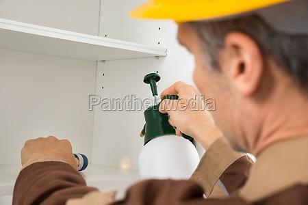 pest control lavoratore spruzzare pesticidi
