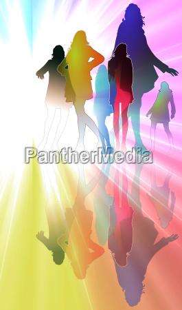 donna donne luce moda colorato illustrazione