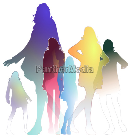 donna donne colorato illustrazione posare tingere