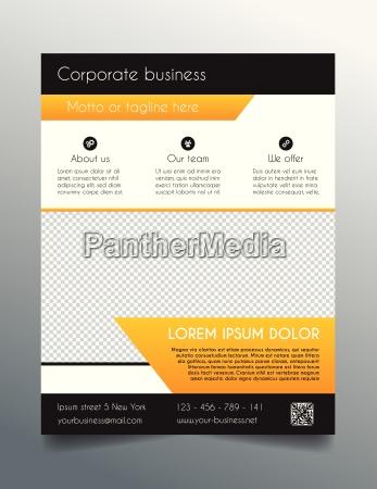 business flyer template fresh orange