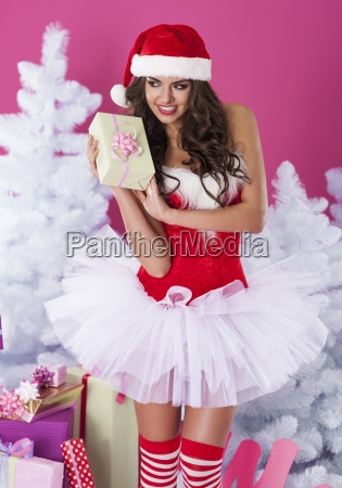lovely female santa claus with christmas