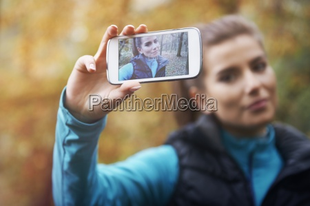 selfie on social network da jogging