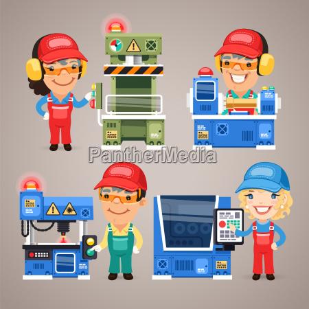 set di lavoratori di cartone animato