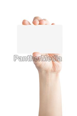 scheda vuota della stretta della mano