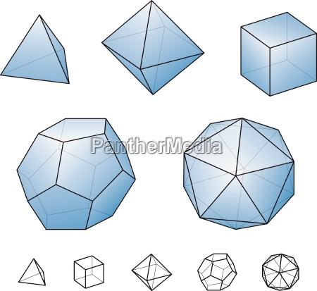 solidi platonici con superfici azzurre