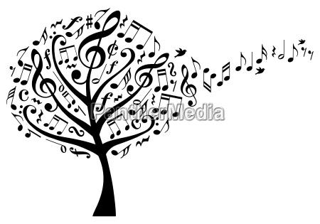 albero di musica con note musicali