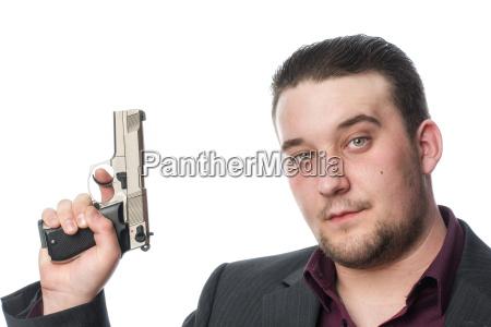 face of a man with gun