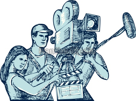 film crew clapperboard cameraman soundman drawing