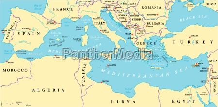 mappa politica del mar mediterraneo