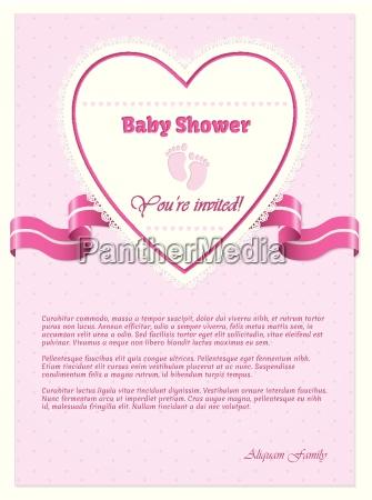 invito baby shower rosa con testo