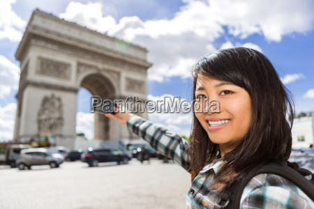young attractive asian tourist taking pictures