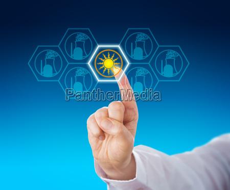 energia solare selezionata attraverso il tocco