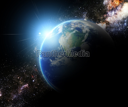 terra e sunbeam in galaxy space