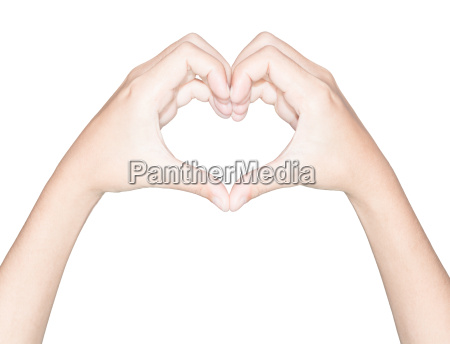 closeup hand heart love symbol isolated