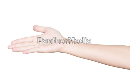 closeup hand receive isolated white clipping