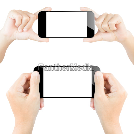 closeup, hand, hold, smartphone, white, isolated - 14225025
