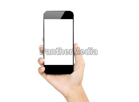 closeup, mano, tenere, smartphone, mobile, isolato - 14225237
