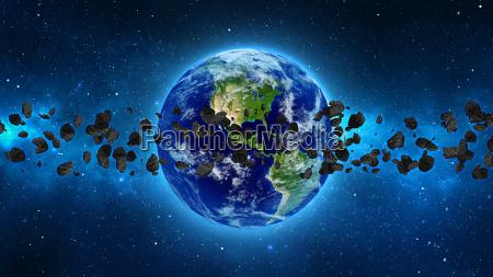 pianeta terra con asteroide in universo