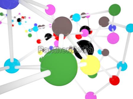 closeup molecule color on white science