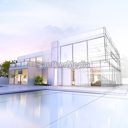 villa in wireframe