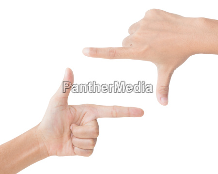 hand gesture picture frame isolated clipping