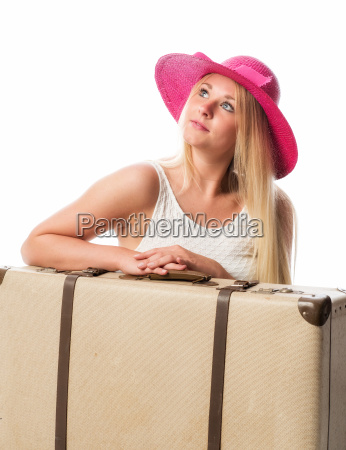 girls sitting in front of suitcases