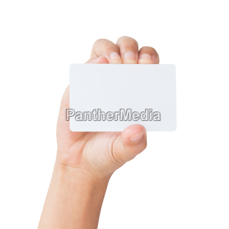 hand hold blank white card isolated