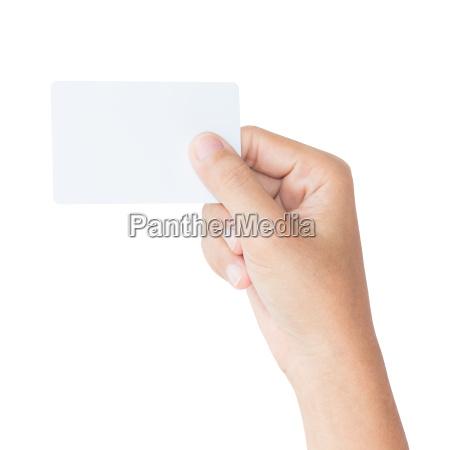 mano, tenere, carta, bianca, bianca, isolata - 14312289