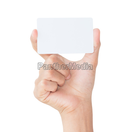 mano, tenere, carta, bianca, bianca, isolata - 14316223