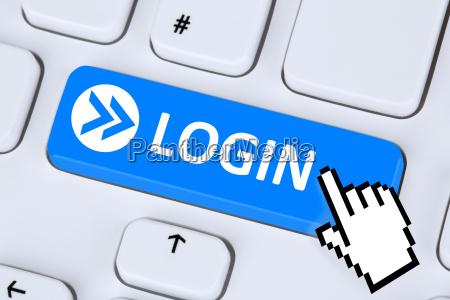 login pulsante login online al computer