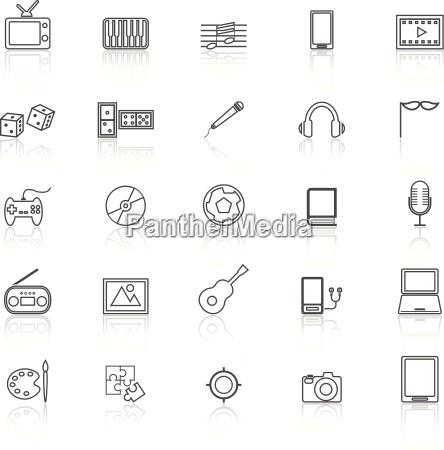 icone delle linee di intrattenimento con