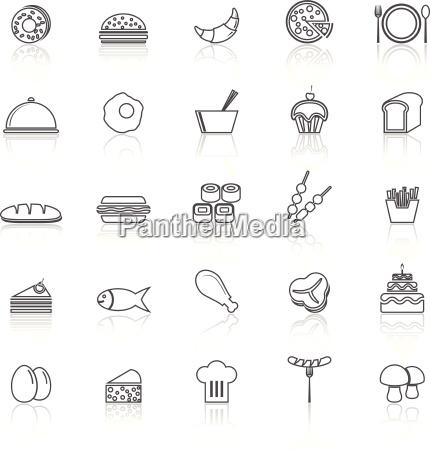 icone delle linee cibo con riflettere