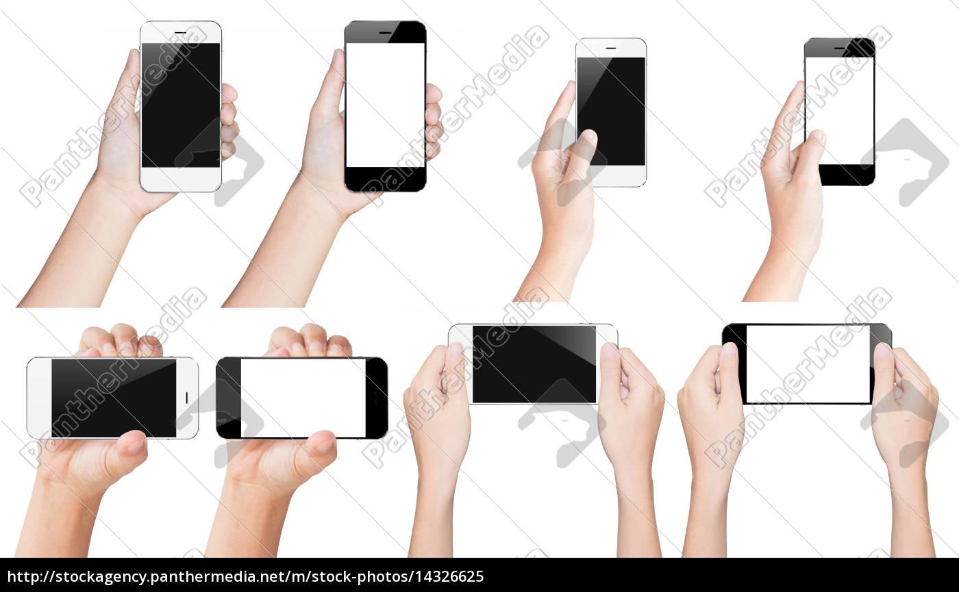 mano, smartphone, tenere, in, bianco, e - 14326625