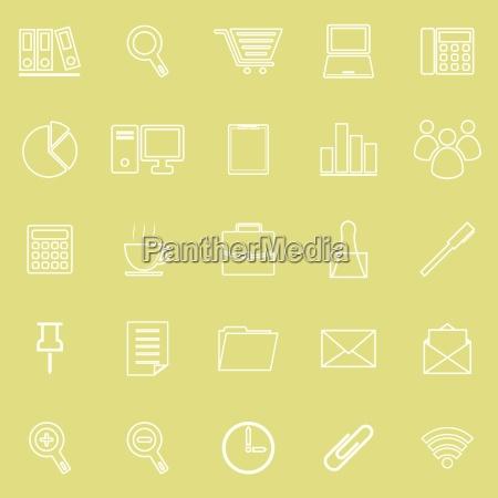 icona linea ufficio su sfondo giallo