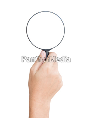hand hold magnifier isolated clipping path