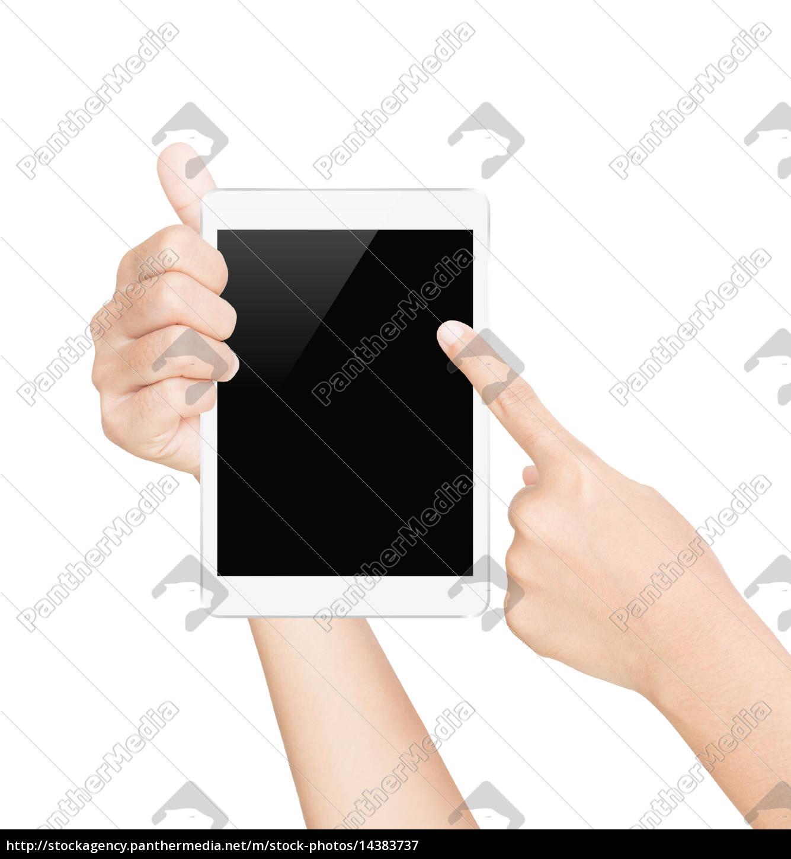schermo, bianco, della, compressa, della, stretta - 14383737