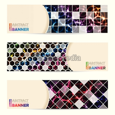 set banner cool con sfondo astratto