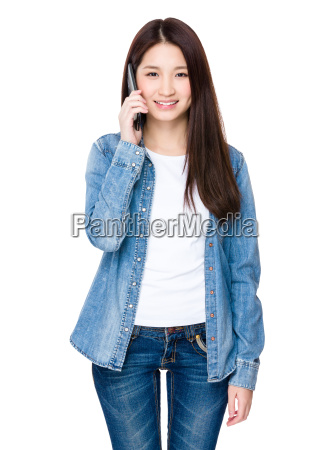asian young woman chat with mobile