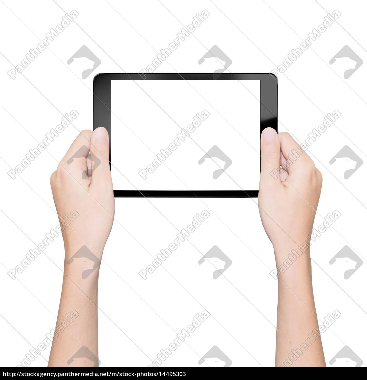 mano, tenendo, tablet, isolato, bianco, con - 14495303